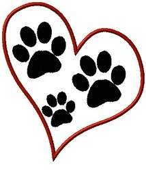 Heart Paws embroidery design