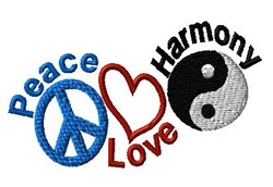 Peace Love Harmony embroidery design