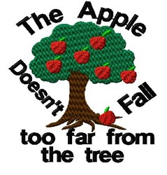 Apple Doesnt Fall embroidery design