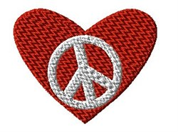Peace Sign in Heart embroidery design