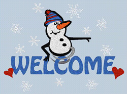 Welcome Snowman embroidery design