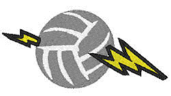 Volleyball  Lightning embroidery design