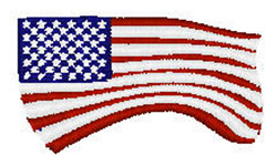 Wave American Flag embroidery design