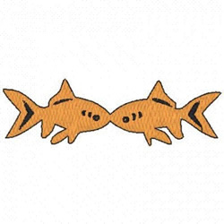 Kissing Goldfish embroidery design