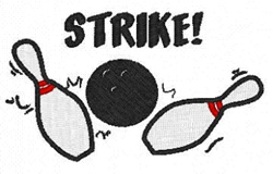 Bowling Strike embroidery design