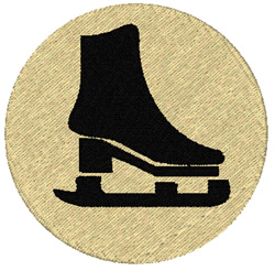 Ice Skate Silhouette embroidery design
