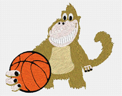 Monkey And Basketball embroidery design