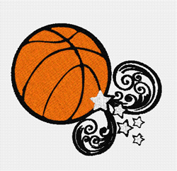 Flying Basketball embroidery design