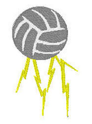 Volleyball And Lightning embroidery design