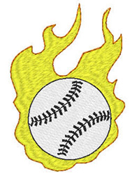 Baseball And Flames embroidery design