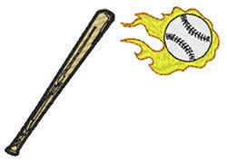 Bat And Baseball embroidery design