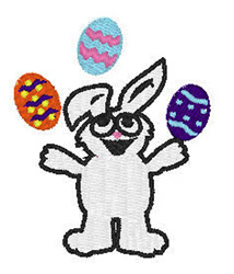 Bunny Juggling embroidery design