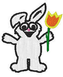 Bunny With Tulip embroidery design