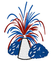 Poms Patriotic Fireworks embroidery design