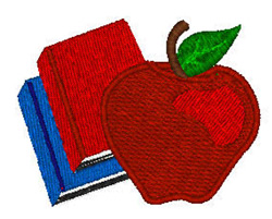 Apple And Books embroidery design