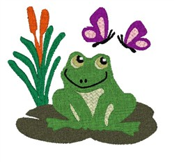 Frog On Lily Pad embroidery design