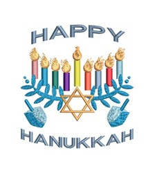 Happy Hanukkah & Dreidel embroidery design