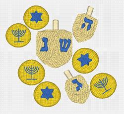 Dreidel  And Gelt embroidery design