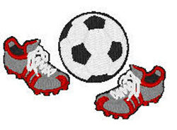 Soccer Cleats And Ball embroidery design