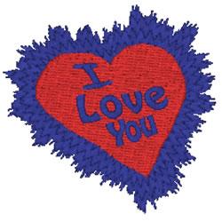 Heart Burst I Love You embroidery design