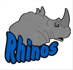 Rhinos Mascot embroidery design
