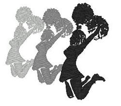 3 Cheerleaders embroidery design