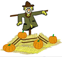 Scarecrow And Pumpkins embroidery design