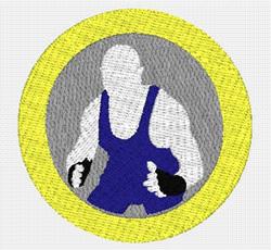 Wrestler embroidery design