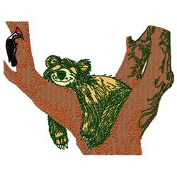 Bear In Tree embroidery design