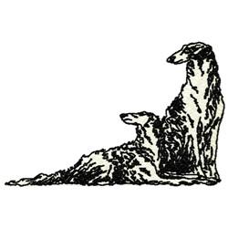 Borzoi Dogs embroidery design