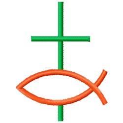 cross and fish embroidery design
