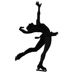 Ice Skater Silhouette embroidery design