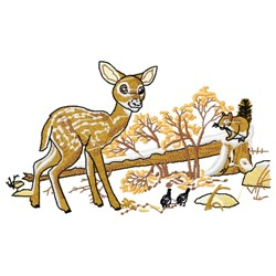 Fawn & Squirrel embroidery design