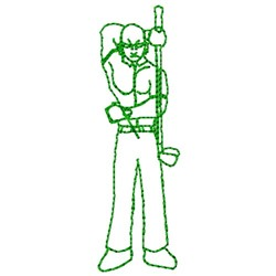 Golfer Outline embroidery design