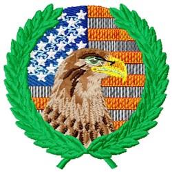 USA Laurel Eagle embroidery design