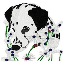 Dalmatian & Daisies embroidery design