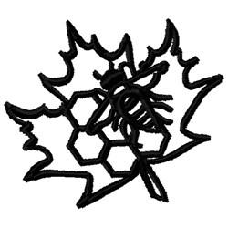 Honeycomb & Leaf Outline embroidery design