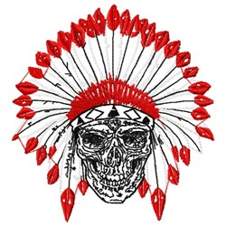 Skeleton Indian Chief embroidery design