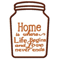 Life Begins At Home embroidery design