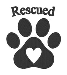 Rescued Paw Print embroidery design