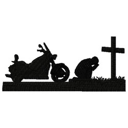 Praying Motorcycle Rider embroidery design