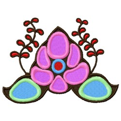 Colorful Asian Flowers embroidery design