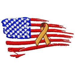 American Flag Awareness Ribbon embroidery design