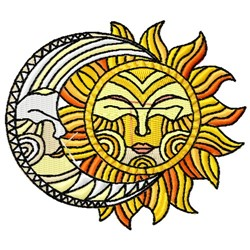 Sun & Moon embroidery design
