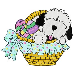 Easter Sheepdog embroidery design