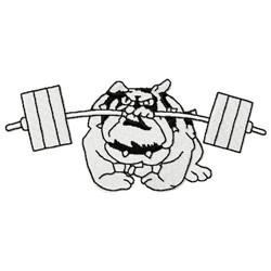 Bulldog Weighlifter embroidery design