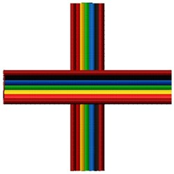 Rainbow Cross embroidery design