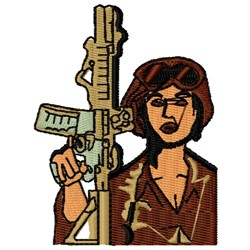 Lady With Gun embroidery design