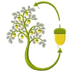 Acorn Tree embroidery design