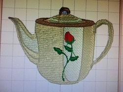 Teapot With Rose embroidery design